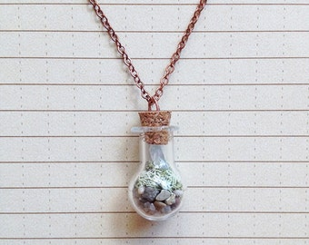 Terrarium Necklace with Moss and Crystal inside Vial - Micro