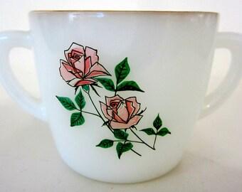 Fire King Vintage Sugar Open Bowl Anniversary Pink Rose Milkglass Floral Leaf Glass Gold Rim
