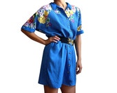 LILOU French Vintage Blue Polkadots with Floral Print Shirt Dress