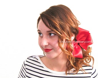 """Big Red Satin Bow for Women, 6 Inch Bow, Red Hair Bow, Extra Large Boutique Bow,  6"""" Satin Special Occasion Bow, Women Teens Girls 60 Colors"""