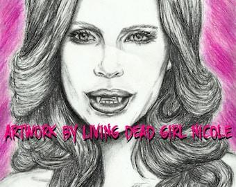 "Fundraiser Portrait Drawing Art Print: ""Bite Me"" Pam True Blood Kristin Bauer Vampire Horror"