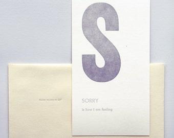 sorry - letterpress printed flashcard notecard