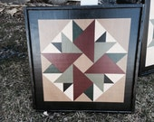 PriMiTiVe Hand-Painted Barn Quilt, Small Frame 2' x 2' - Double Aster Pattern (Dark Sage Version)