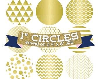 Gold Foil Digital Bottlecap Images Instant Download Bottle Cap Graphics Digital Collage Sheet One Inch Circles 4x6 JPG