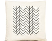 Line Arrow Chevron Graphic Pillow Cover 20 x 20 Black and White Decorative Pillow  Modern Home Decor Throw Pillow Cushion Cover