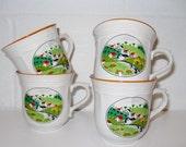 Vintage 60s Primitive Scene NEWCOR Stoneware Japan Set of Mugs