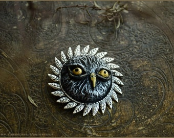 Owl brooch with leaves / owl sculpture on silver tone setting - Handmade jewelry sculpt