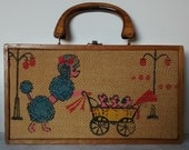 Vintage Poodle Mommy, Puppies and Pram Purse