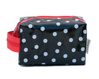 Oilcloth Makeup Bag Cosmetic Case Polka Dot Small