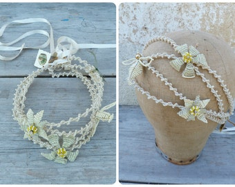 CREAM Handmade in France large beaded  choker necklace or Diadema  Flowers and dove Bridal Wedding