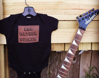 Bad Mother Sucker one-piece baby outfit black cotton Pulp Fiction parody Jules quote