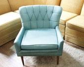 1950s turquoise blue armchair mid century modern atomic retro