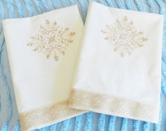 OOAK Vintage NOS Percale  Pillowcases Embroidery Jacquard Ribbon Trim, Never Used, Machine Embroidery, Champagne Pillowcases