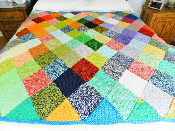 Knitting Pattern Patchwork Afghan : Double Knit Harlequin Afghan Knit Blanket Patchwork Afghan