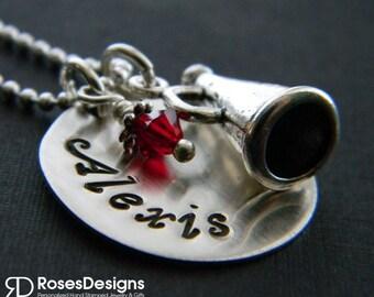 Cheerleader Megaphone Handstamped Necklace- Megaphone, Cheer, personalized necklace, personalized jewelry, by RosesDesigns