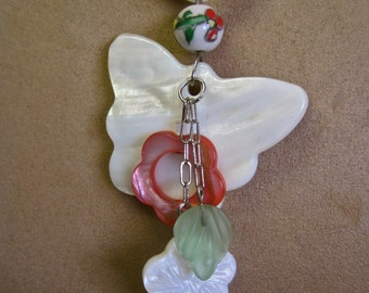 Spring Visitor: Mother of Pearl Butterfly Necklace White Coral Flowers Modernist Floral One of a Kind Mothers Day Gift