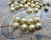 Vintage Brass 8mm  Half Dome Brass Metal Spiral Cabochon (8)