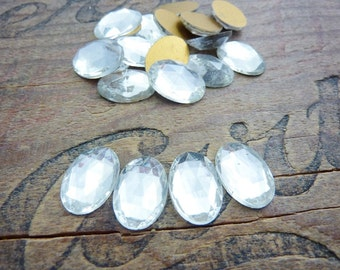 Vintage Glass Rhinestone 16x11 Oval Faceted Crystal Rhinestone (4)