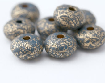 Vintage Lucite Beads Dark Blue Beads Gold Spacer Saucer Disc Lucite 20mm (8)