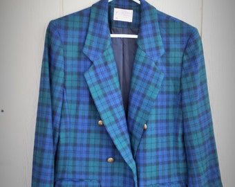 Blue and Green Plaid Pendleton Wool Blazer size 8