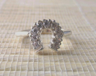 Cubic Zirconia Horseshoe Ring Sterling Silver April Alternative Birthstone Made to Order