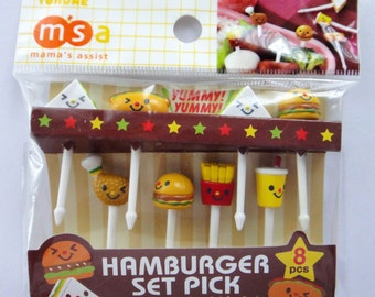 Cute Fast Food Themed Japanese Bento Picks / Cake Toppers - Sandwich, Hot Dog, Hamburger, Chicken Drumstick, French Fries, Drink