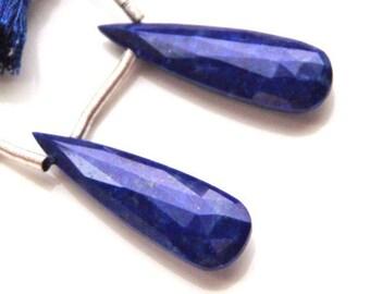 Elongated Faceted Lapis Briolette Pair - 26.5mm