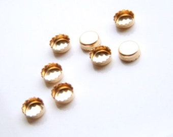14k Solid Yellow Gold Serrated Bezel Cup - 4mm - Choose Your Quantiy