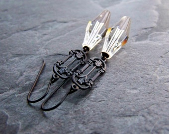 Art Nouveau Earrings-Swarovski Crystal Earrings-Long Earrings-Linear Earrings-Floral Earrings-Large Crystals-Light & Dark