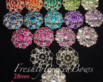 5 Rhinestone Acrylic Button size 28mm SOLID Stargazer 13 colors available