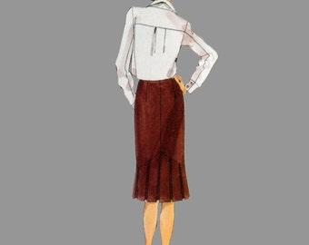 1990s Skirt Pattern Vogue 9726 Pleated flounced hems Classic styling Unique design Size 14 - 18 Waist 28 - 32 UnCut