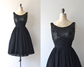 Night Music dress | vintage 1950s dress | sequin and chiffon 50s dress