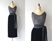 Marquise sequin and velvet dress | vintage 1950s dress • beaded long 50s dress