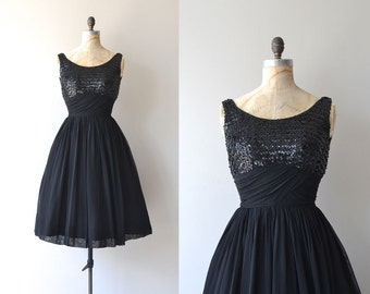 Hot Box Girl dress | vintage 1950s dress | sequin and chiffon 50s dress