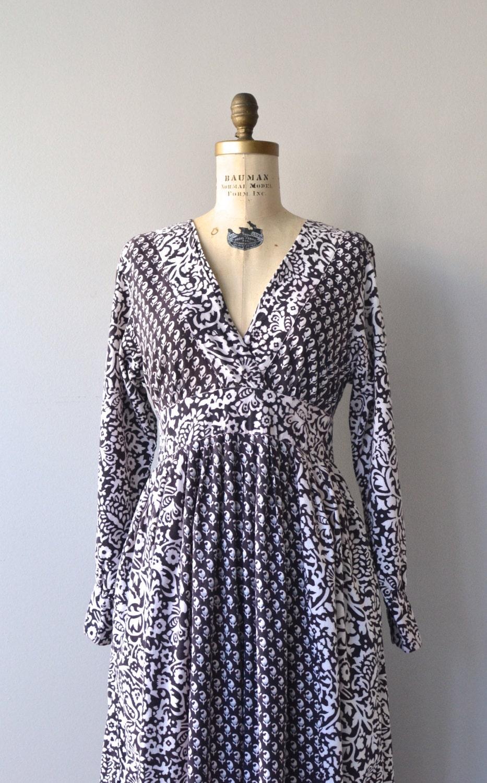 Adini Indian Cotton Dress 1970s Block Print Indian Dress