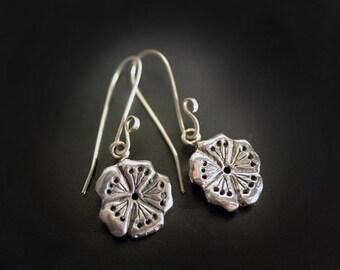 Sakura Blossom Sterling Silver Dangle Earrings