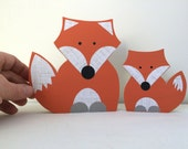Mom and Child Wooden Fox Art Sculpture, Fox Decor, Forest Themed Nursery, Fox Kids Decor, eco friendly
