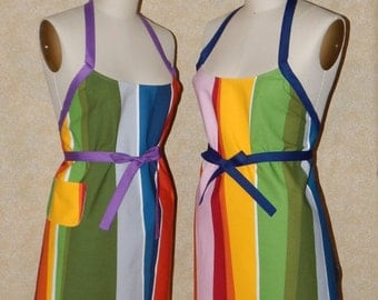 Chef apron Rainbow turned on its' ear Wrap around cotton canvas fabric patch pocket
