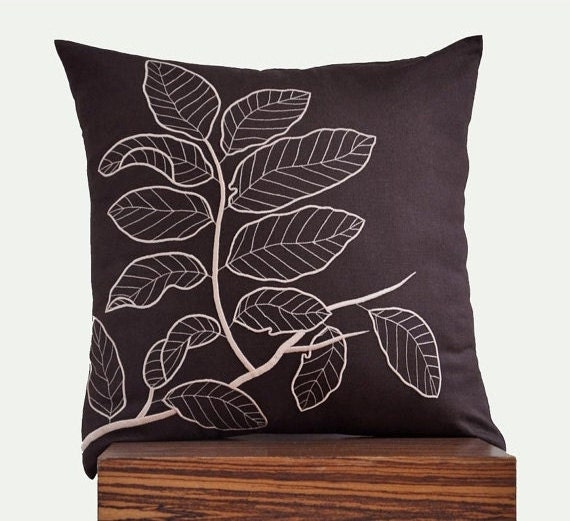 Brown Pillow Cover Decorative Throw Pillow Cover Dark by KainKain