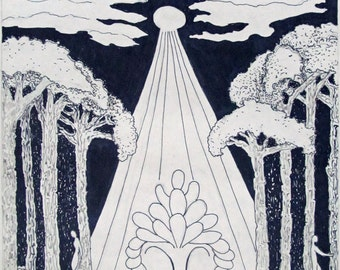 Under the Trees,  pen and ink, drawn and signed by the artist,  Only one
