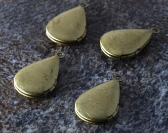 Vintage Lockets Brass Set of 4 Teardrop Pendant Jewelry Making 10x14mm