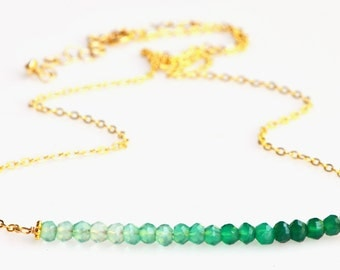 Gold Emerald Green Bar Necklace