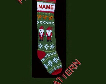 Pattern only, Hand knit Christmas stocking, -- Santa, dog and snowflake