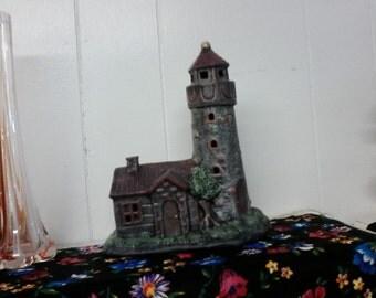 Hand painted ceramic lighthouse lamp nightlight