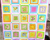 Handmade Berenstain Bears Cuddle Quilt, baby quilt, little girl quilt, bright and colorful handmade quilt