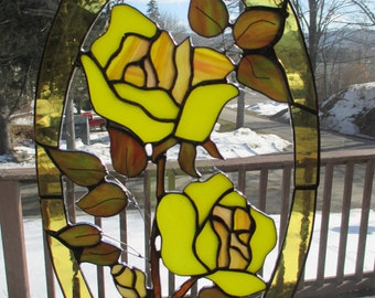 Stained Glass Yellow rose Sun catcher/Plaque
