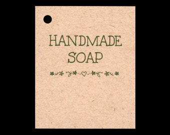 100 HANDMADE SOAP Hang Tags -100 Color Strings Included -  Price Tags