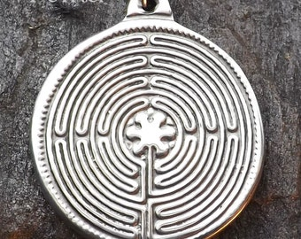Chartres Labyrinth - Pewter Pendant - Cathedral Sacred Sites, Meditation Jewelry, Grounding Necklace, - Poured by hand in America