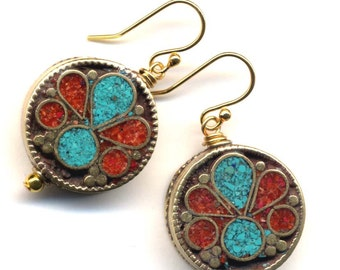 Nepal Earrings, Turquoise and Coral Earrings, Tibet Beads on 18K Gold Filled Ear Wire, Handmade Jewelry by AnnaArt72