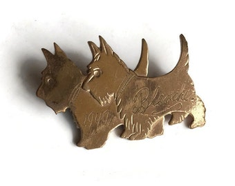 vintage Scottie Dog Pin Brooch 1949 Engraved Blance Scotty